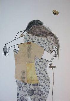 """Always,"" original figurative collage by artist Lisa Murphy (Australia) available at Saatchi Art #SaatchiArt #ValentinesDay"