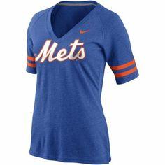 Nike New York Mets Ladies 2014 MLB Replica V-Neck T-Shirt - Royal Blue