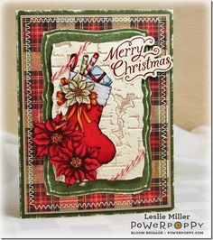 Poinsettia stamp set by Power Poppy, card design by Leslie Miller.
