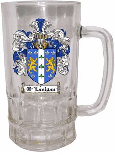 Clear Glass Coat of Arms Steins $23.75