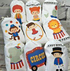 Nine Big Top Circus Kids Favor Bags great for Girls/Boys Birthday for treats or gifts for that Circus Theme Birthday. Vintage Circus Party, Circus Carnival Party, Circus Theme Party, Carnival Birthday Parties, Kids Party Themes, Birthday Gifts For Kids, Circus Birthday, Birthday Favors, Girl Birthday