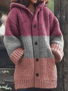 Cardigan Fashion, Knit Fashion, Women's Fashion, Crochet Cardigan, Knit Crochet, Knitted Fabric, Knitted Coat, Fall Sweaters For Women, Sweater Coats