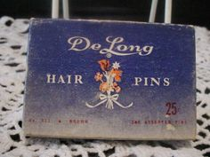 DeLong Antique Ladies Hair Pins Brown In the Box
