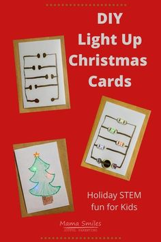 These DIY Light-up Christmas cards are easy and fun to make. A wonderful STEM themed Christmas activity for kids! #christmas #christmasactivities #STEMed #homeschool #learnathome #STEAM Christmas Activities For Kids, Christmas Projects, Handmade Christmas, Christmas Holidays, Christmas Cards, Christmas Ideas, Christmas Decorations, Diy Light, Light Up