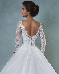 Amelia Sposa 2016 Wedding Dresses — Volume 2 amelia sposa 2016 wedding dresses bateau neckline lace long sleeves beaded embellishment tulle skirt a line ball gown wedding dress jessica back view closeup 2016 Wedding Dresses, Wedding Dress Trends, Wedding Attire, Bridal Dresses, Wedding Gowns, 2017 Wedding, Trendy Wedding, Dresses 2016, Wedding Ideas