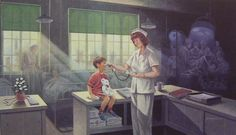 """Nursing by James Lumbers. """"At the turn of the century, starched formality and rigid  routine directed the life of a nurse. Over time, nursing has  evolved with modern technology taking them into areas that no one could have imagined one hundred years ago.  But even with all the advances in nursing, one aspect has remained unchanged. . . nurses have never lost the human touch."""""""