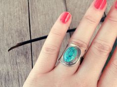 stone ring open ring turquoise ring silver ring by CarmelaRosa
