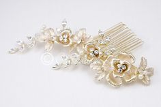 Light Gold Bridal Hair Comb with Pearls