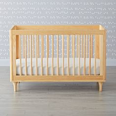 Shop Babyletto Lolly Natural 3 in 1 Convertible Crib.  With a unique 3-in-1 design, the Babyletto Natural Lolly Crib can transform from a crib into a daybed into a toddler bed with ease.