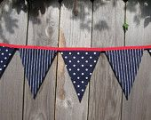 Nautical Party Decor - Photo Prop - Navy & White Polka Dot Fabric Banner Bunting - Nursery or Room Decor - 9 Large Flags