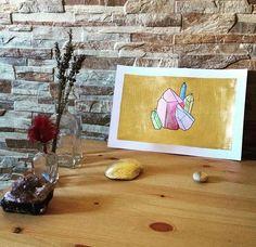 #art #etsyshop #etsy #goldleafimitation #goldleaf #illustration #gold #artofgold #metallicleaf #watercolor #originalart #crystal #crystals