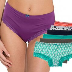 6pk Jo & Bette Cotton Hipster Panties With Lace - Comfy & Cute