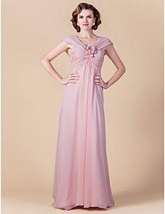 Sheath/Column Plus Sizes / Petite Mother of the Bride Dress - Blushing Pink Floor-length Sleeveless Chiffon