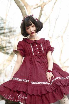 NyaNya Lolita -The Flower Hime- Unicolor Classic Lolita OP Dress (High Waist Version)