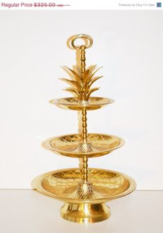 ON SALE Vintage Large Brass Pineapple Tray Hollywood Regency Brass Pineapple Tray 3 Tier Tidbit Server