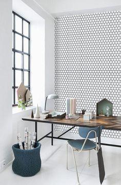 Love this easy DIY honeycomb wallpaper--image via Pinterest