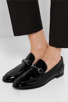 Gucci New Power horsebit-detailed patent-leather loafers NET-A-PORTER.COM