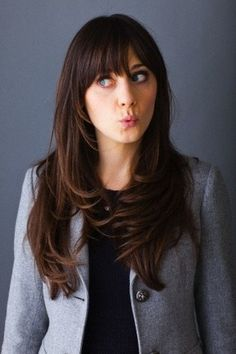 The Zooey Deschanel Bangs for Layered Long Wavy Brunette Hair