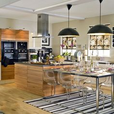 Kitchen Kitchen Lighting Design And Small Kitchen Design Idea By Way Of Setting Up The Impressive Smart Kitchen, Open Plan Kitchen, Kitchen Dining, Kitchen Decor, Design Kitchen, Dining Area, Kitchen Ideas, Kitchen Chairs, Dining Table