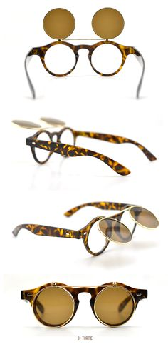 #Steampunk-Flip type-Round Sunglasses-Tortie-cool design sunglasses slim face sunglasses #Tortie Visit - FUNMEMO.COM  to see More