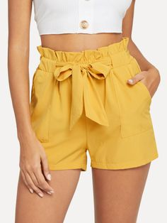 Linen Pajamas Women/ Linen Shorts and Ruffled Sleeves Linen Top/ Women's Pajama Shirt and Pants / Plus Size Linen Clothing Short Outfits, Trendy Outfits, Summer Outfits, Girl Outfits, Trendy Clothing, Belted Shorts Outfits, Yellow Shorts Outfit, Casual Shorts, Modest Shorts