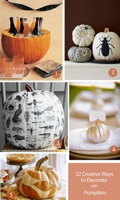 22 new and creative Pumpkins - Emily Henderson Fall Crafts, Decor Crafts, Holiday Crafts, Holiday Fun, Favorite Holiday, Diy Crafts, Holiday Ideas, Holiday Decor, Holidays Halloween