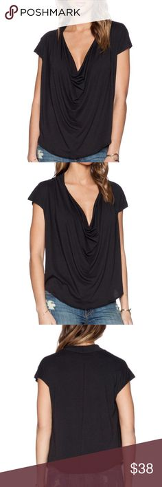 Free People fantasy cowl neck tee New with tags. Super soft front drape tee by Free People Free People Tops Tees - Short Sleeve