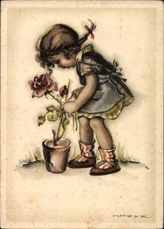 Artist Postcard Peyk, Hilla, Mädchen, Rose, Blumentopf