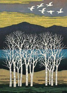 Japanese art Fumio Fujita (Japanese, b. White Trees and Birds Color woodblock, Landscape Quilts, Landscape Art, Japanese Prints, Japanese Art, Linocut Prints, Art Prints, Art Asiatique, Illustration Art, Illustrations