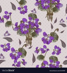 Vintage Seamless Floral Background with Violets and Butterflies. Download a Free Preview or High Quality Adobe Illustrator Ai, EPS, PDF and High Resolution JPEG versions.