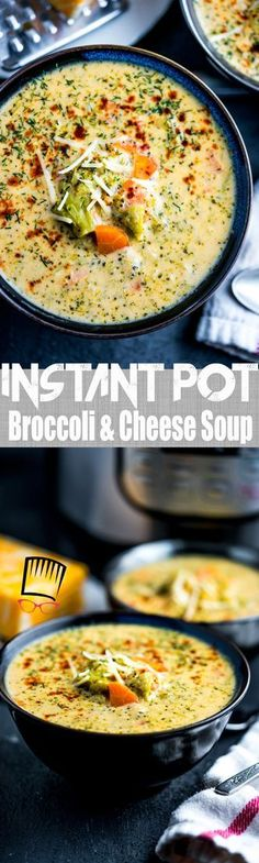 If you're craving a rich and creamy soup that takes under 20 minutes to make, this Instant Pot Broccoli and Four Cheese Soup is for you!