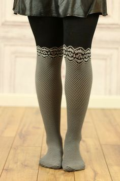 Lace-Patterned Black & White Tights