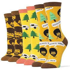 Oooh Yeah Women's Luxury Combed Cotton Crew Socks - Funny * You can get more details by clicking on the image. Funny Socks, My Socks, Crew Socks, Bob Ross Happy Trees, Bob Shoes, Happy Little Trees, Women's Socks & Hosiery, Cotton Socks, Lovers Art