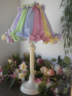 Shabby Chic Girls Pastel Rag Bows Lamp by touchograce on Etsy, $42.00