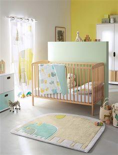 Tapis éléphants thème Baby jungle IMPRIME - vertbaudet enfant