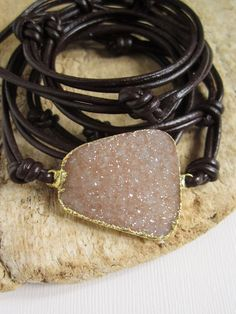 Agate Druzy Bracelet Drusy Quartz Dark Brown by julianneblumlo