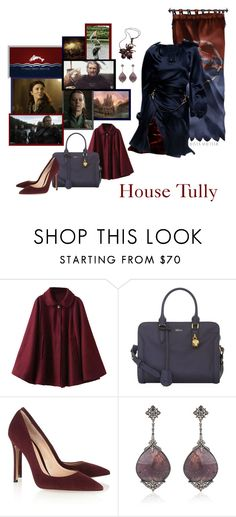 """Round 1: Houses - House Tully -"" by josislver ❤ liked on Polyvore featuring Alexander McQueen, Gianvito Rossi, Marios Schwab, Prabal Gurung, Bochic and Burberry"