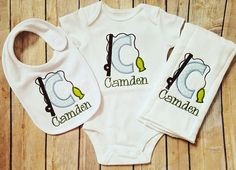 Gray Personalized Fish Bib Personalized Gown Burp Personalized Baby Boy Classic Newborn Gown Gift Set Bib Knot Hat Navy and Teal