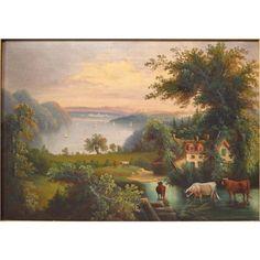 Hudson River School Painting Antique Oil