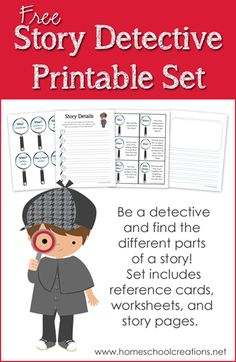 Free story detective printables - learn and identify the parts of a story with this fun and free set!