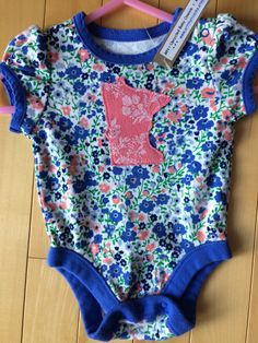 Minnesota Floral Baby Girl Onesie ~ Size 0-3 Mo ~ Upcycled ~ One-of-a-Kind ~ MN Floral Pink Appliqué ~ Cotton ~ Perfect Gift of New Born!! by ArtThatCooks on Etsy