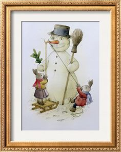 "Snowman and Hares, 1999 Giclee Print by Kestutis Kasparavicius at Art.com   18"" x 24""  $49..9 (unframed)"