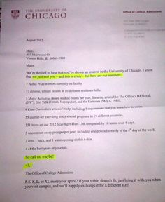 university of chicago call me maybe admissions letter