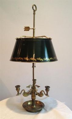 Vtg Chapman Tole Toleware French Empire Brass Style Swan Bouillotte Table Lamp | eBay