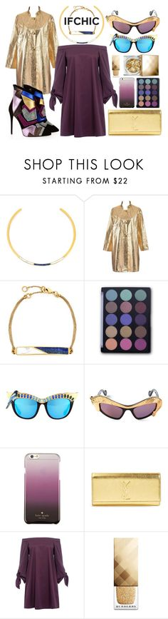 """Purple Chic"" by sanya-styleup on Polyvore featuring Edge of Ember, Giuseppe Zanotti, FaceBase, Anna-Karin Karlsson, Kate Spade, Yves Saint Laurent, TIBI, Burberry, dress and ifchic. #purpledress #goldcoat #goldsunlasses #edgystyle"
