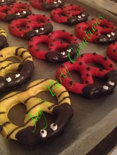Ladybug and bee pretzels. Maybe a fun pretzel project with the kids.