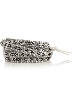 Chan Luu Silver, leather and crystal wrap bracelet