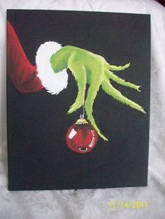 Dr Seuss The Grinch Canvas Painting   Hand Painted with acrylic paints on stetched 11x14 canvas. This is all hand painted by me and is not a print