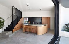 Make Architecture has added a brick extension to a Victorian cottage in Melbourne, which curves around a secluded courtyard Australian Interior Design, Interior Design Awards, Australian Architecture, Australian Homes, Interior Architecture, Victorian Architecture, Wooden Cottage, Old Cottage, Victorian Cottage