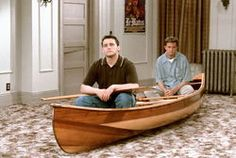 """ Matt Leblanc as Joey Tribbiani and Matthew Perry as Chandler Bing in a canoe in their apartment "" Friends. Friends Tv Show, Tv: Friends, Friends Best Moments, Serie Friends, I Love My Friends, Best Friends Forever, Chandler Friends, Friends Episodes, Friends Season"